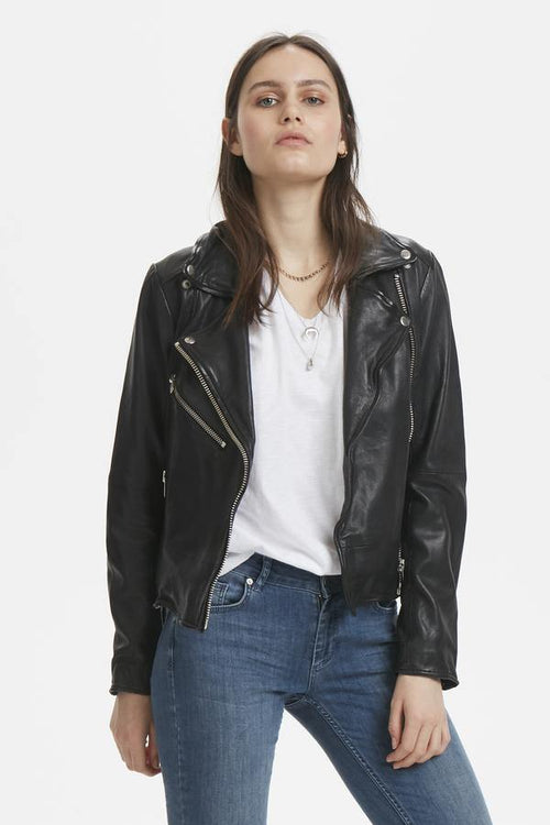 Denim Hunter Leather Jacket - Læder jakke (4817550934095)