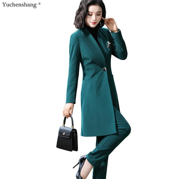 Women Work Pant Suit Green Black 2 Piece Set 2019 New Fall Winter One Button Long Blazer Jacket Coat and Pant For Office Lady - Ozone Bay