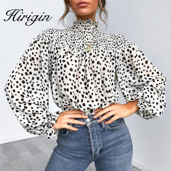 Fashionable Flower Puff Sleeve Blouses For Women Boho Chiffon Blouse Office Lady Floral Printed Shirts Women Tunic Blusa Chemise - Ozone Bay