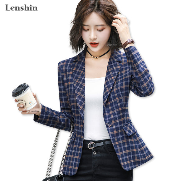 Lenshin Soft and Comfortable High-quality Plaid Jacket with Pocket Office Lady Casual Style Blazer Women Wear Single Button Coat - Ozone Bay