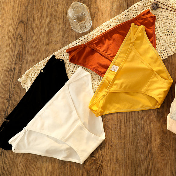 3pieces Low Waist cotton ladies briefs underwear panties for women sexy Comfort seamles Solid High Quality Low-rise female Panty - Ozone Bay