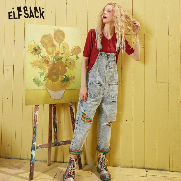 ELFSACK Blue Colorful Ripped Washed Loose Casual Overall Jeans Women 2020 Spring Pocket Korean Ladies Jumpsuit Straight Pants - Ozone Bay