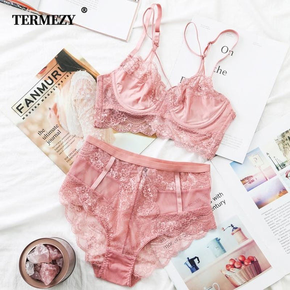TERMEZY Classic Bandage Pink Bra Set Lingerie Push Up Brassiere Lace Underwear Set Sexy High-Waist Panties For Women underwear - Ozone Bay