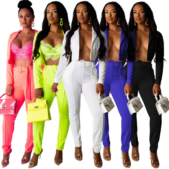 Neon Fashion Women's Suit Solid Two Pieces Sets Slim Sashes Cropped Blazer And Pants Outfits Casual  Pant Suits Clothes - Ozone Bay