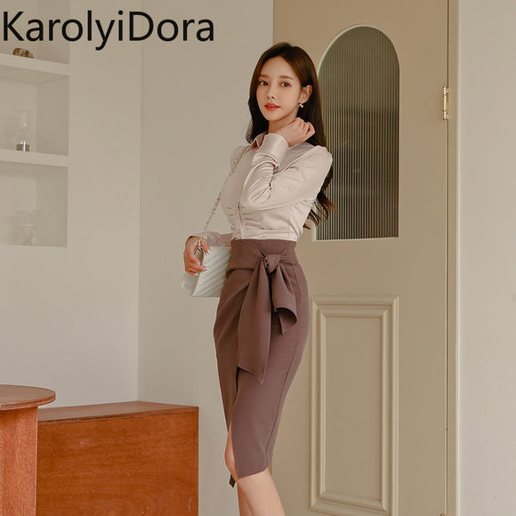 Office Wear 2 Pieces Set Turn-down Collar Blouses & Lace Up Side Split Pencil Skirt Suits Female 2019 Elegant Women Set - Ozone Bay