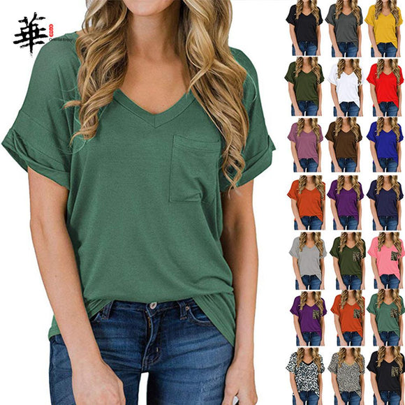 High Quality T-shirt Women Cotton Elastic Basic Plain Tshirt Women with Pocket Short Sleeve Tops Harajuku Pure Color Cropped Tee - Ozone Bay