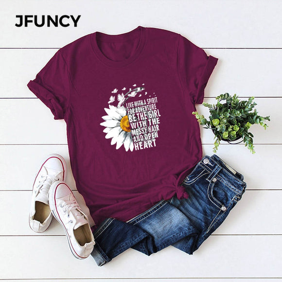 JFUNCY 2020 New Summer Cotton Women T-shirts Creative Chrysanthemum Inspirational Letter Print T Shirt Plus Size Mujer Tee Tops - Ozone Bay
