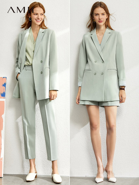 Amii Minimalism suit set women 2020 spring new Solid  suits &blazer and suit vest and high waist suit pants women suits 12060909 - Ozone Bay
