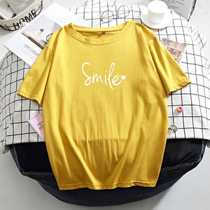 Hirsionsan Letter Printed T Shirt Summer Cotton Women Tshirts Korean Sweet Ladies Tees Comfortable Oversized Black Female Tops - Ozone Bay