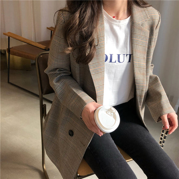 Office Ladies Notched Collar Plaid Women Blazer Double Breasted Autumn Jacket 2020 Casual Pockets Female Suits Coat - Ozone Bay