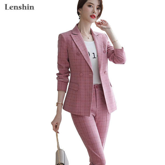 Lenshin High Quality 2 Piece Set Plaid Formal Pant Suit Blazer Office Lady Designs Women Soft Jacket and Ankle-Length Pant - Ozone Bay