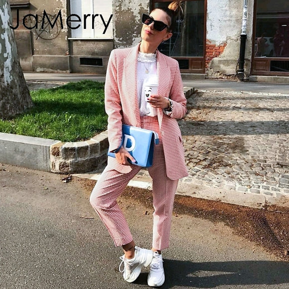 JaMerry Vintage casual women pink plaid blazer suit Autumn single breasted long sleeve female office pants suits Winter outwear - Ozone Bay