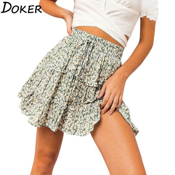 Summer Floral Print Boho Sexy Mini Skirt Women Bandage Fashion High Waist Frills Short Skirt For Women Plus Size Pleated Skirts - Ozone Bay