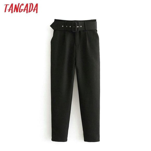 Tangada black suit pants woman high waist pants sashes pockets office ladies pants fashion middle aged pink yellow pants 6A22 - Ozone Bay