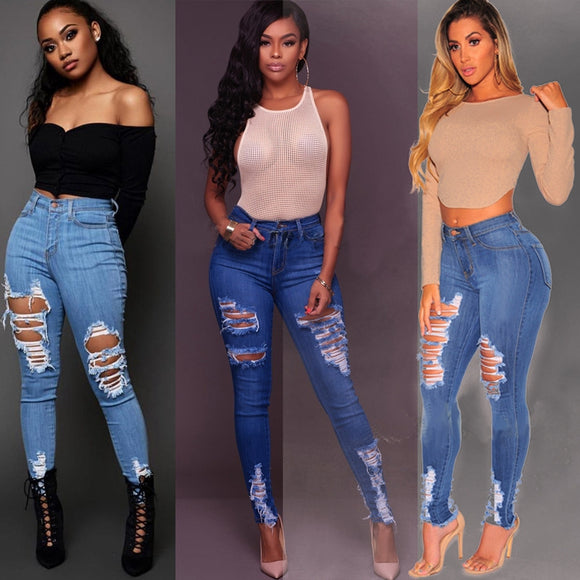 2020 New Summer Fashion Ripped Hole Jeans Women Destroyed Cool Denim High Waist Skinny Jeans Ladies Slim Pencil Pants Mom jeans - Ozone Bay