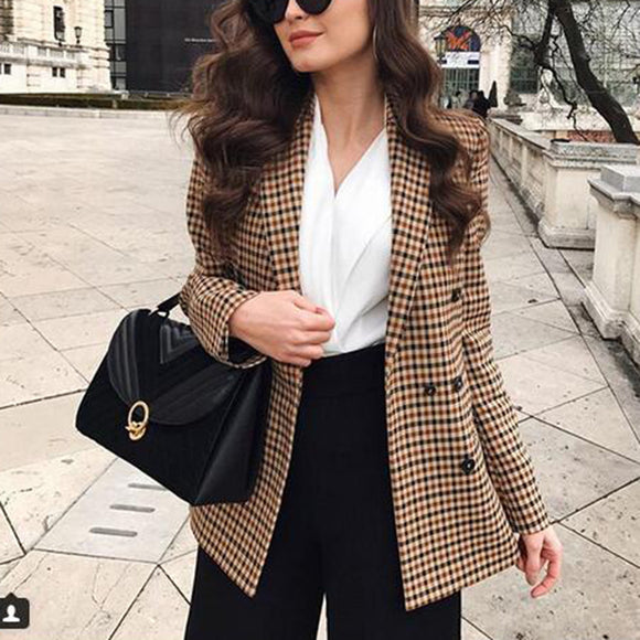 Fashion Autumn Women Plaid Blazers and Jackets Work Office Lady Suit Slim Double Breasted Business Female Blazer Coat Talever - Ozone Bay