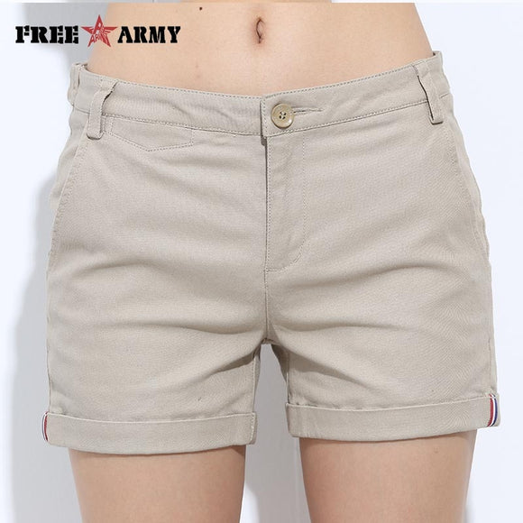 FreeArmy Brand Women's Shorts Summer Two Designs Female Casual Cotton Shorts Women Plain Denim Shorts Embroidery Short Lady - Ozone Bay