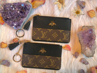 Upcycled Black LV Bee Change Purse Keychain