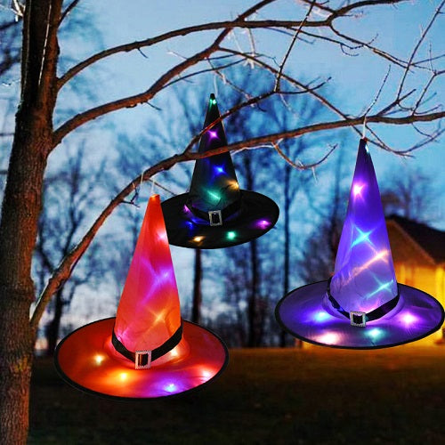 2 in 1 HALLOWEEN Decoration  Glowing Witch Hat( hangable/wearable)