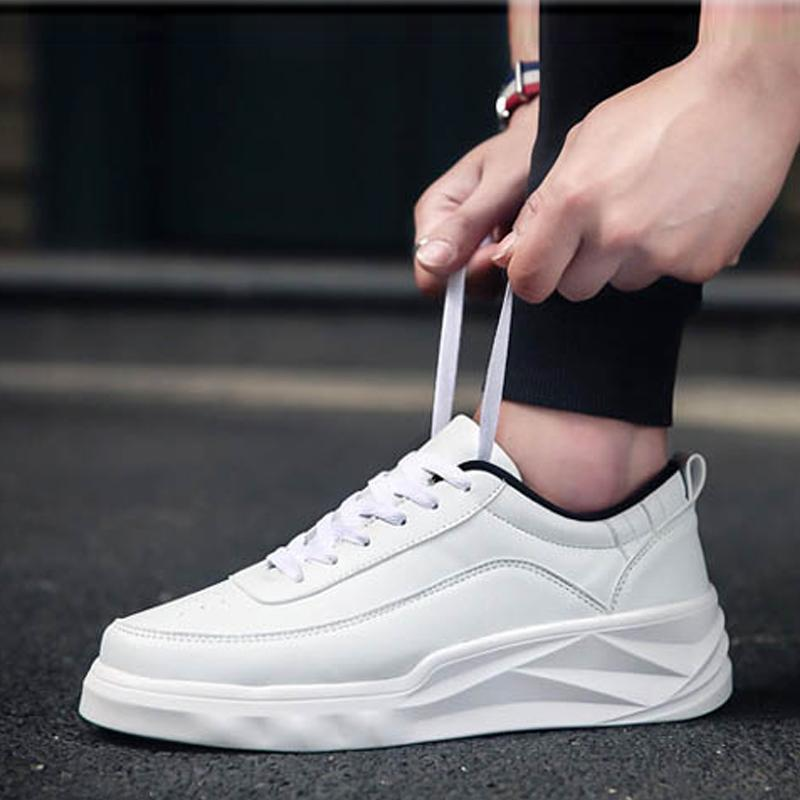 Leather Lace Up Thick Bottom Men's Sneakers