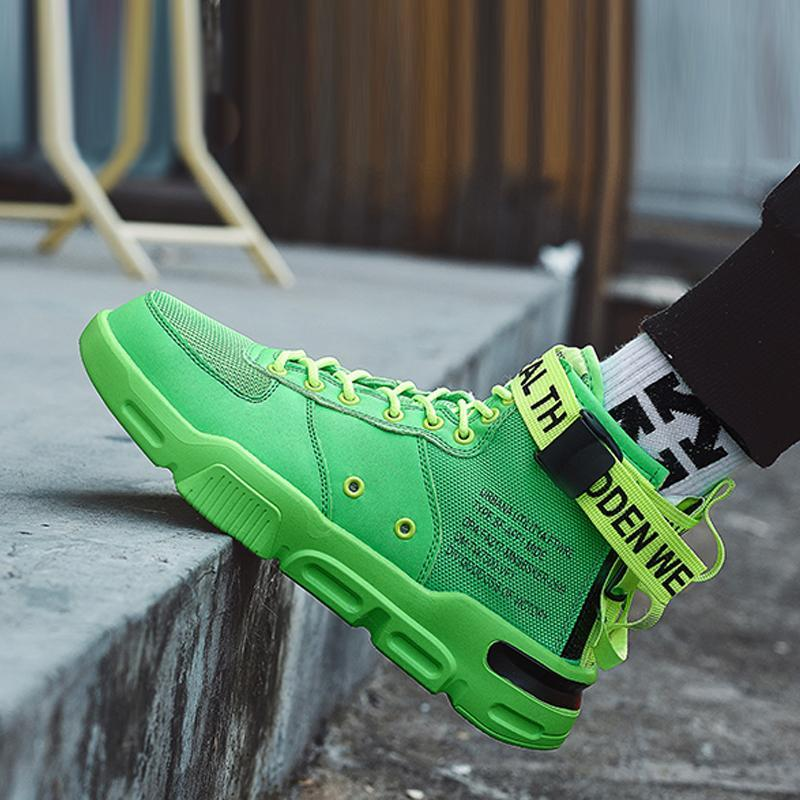 Mesh Lace Up High-top Men's Sneakers