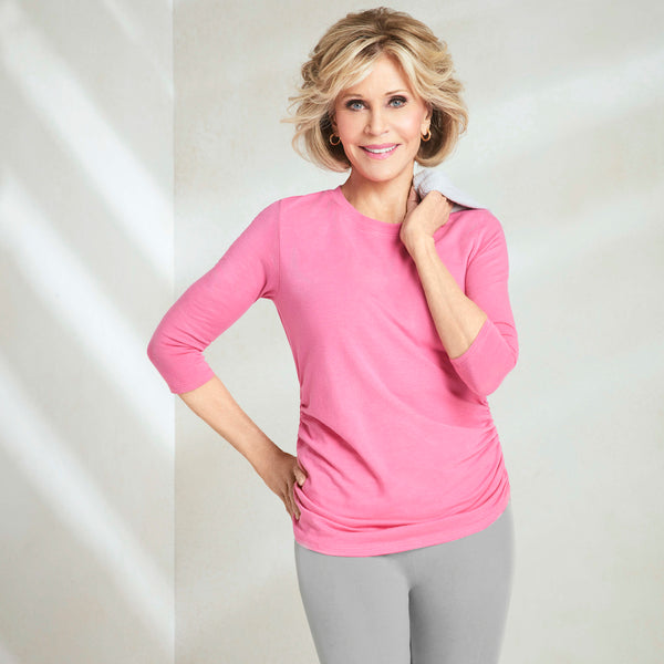 Jane Fonda Pink Ruched Top