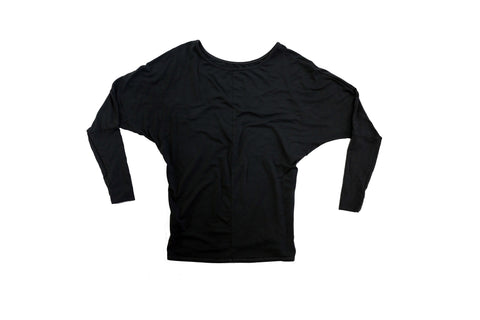 Jane Fonda Black Dolman Top