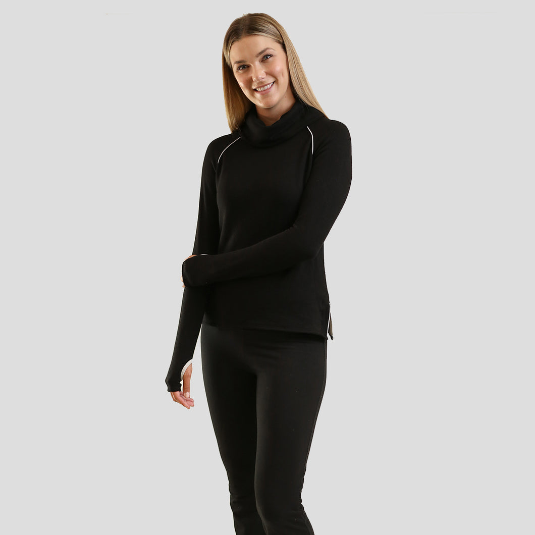 Jane Fonda Black Long Sleeve Cowl Neck