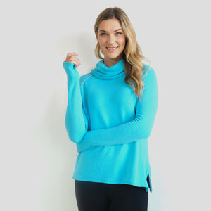 Jane Fonda Blue Long Sleeve Cowl Neck
