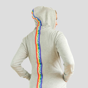 Jane Fonda Heather Grey Rainbow Hoodie (Plus-Size)