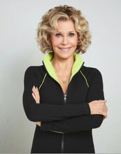 Load image into Gallery viewer, Jane Fonda Black / Lime Zip Front Jacket
