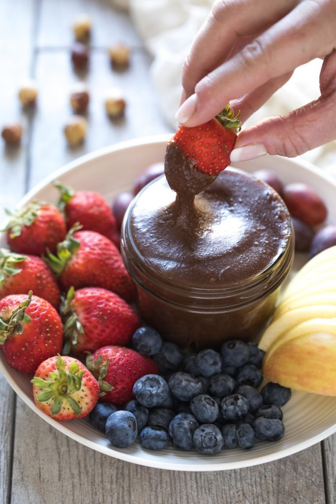 Valentine's Day Paleo Nutella with Strawberries