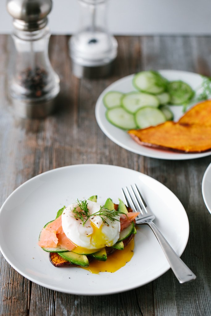 "Sweet Potato ""Toast"" with Avocado, Cucumber, Smoked Salmon + Poached Egg"