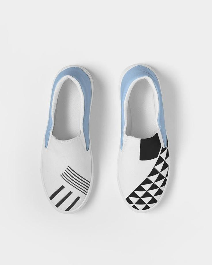customizable shoes, colorful sneakers, canvas slip on sneakers, printed sneakers, fun sneakers, black and white print shoes, geometric sneakers, artist designed sneakers, black and white pop of color slip ons, black and white pop of color sneakers, black and white print sneakers, cool pattern sneakers, eco friendly packaging shoes, eye print slip on sneakers, eye print slip ons, slip on sneakers, everyday shoes, comfortable slip ons, colorful slip ons, color pop shoes, geometric slip on sneakers,