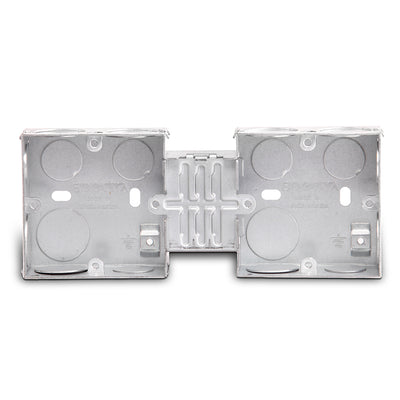 Spectra Switch box, 70x70x35, 1mm thick, 2gang with metal coupler, Pack of 50 - Tri Spectrum online