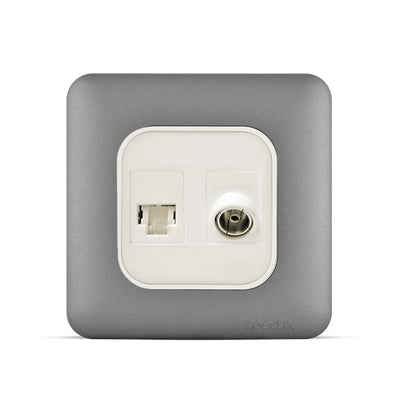 Spectra Almas Signal Connector Combination RJ11 (6P6C) + Angular TV socket. Colored - Tri Spectrum online
