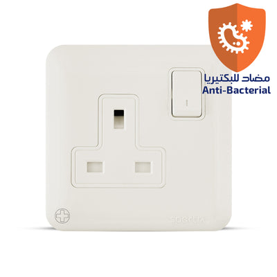 Spectra Almas 13A 250V 1gang double pole switched socket Antibacterial - Tri Spectrum online