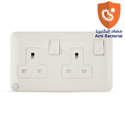 Spectra Almas Socket 13A 250V 2Gang with DP Switch Antibacterial - Tri Spectrum online
