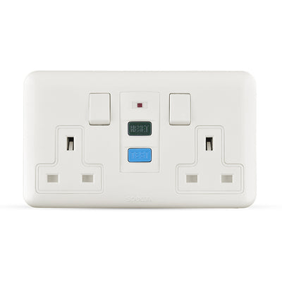 Spectra Almas 13A 240V 2gang double pole switched socket with 30mA RCD - Tri Spectrum online