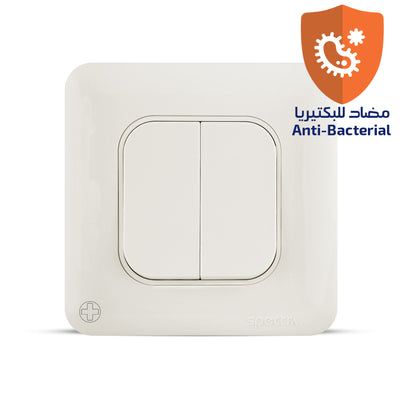 Spectra Almas 10A 250V 2gang 1way switch Antibacterial - Tri Spectrum online