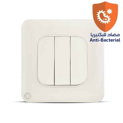 Spectra Almas 10A 250V 1way 3gang Switch with individual terminals Antibacterial - Tri Spectrum online