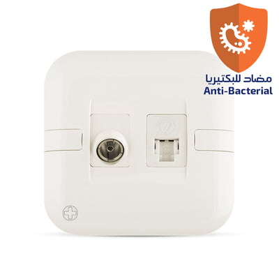 Spectra Perla Signal Connectors Combination RJ11 6P 6C + Angular TV socket 2Gang Antibacterial - Tri Spectrum online