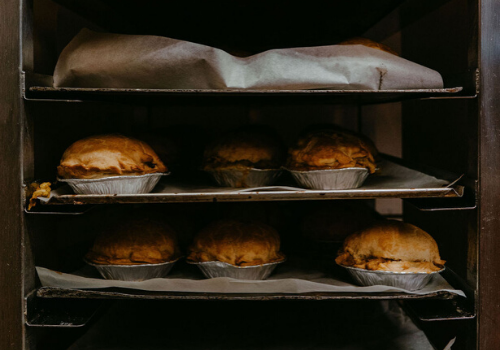 Pies coming out of the oven at Lochinver Larder