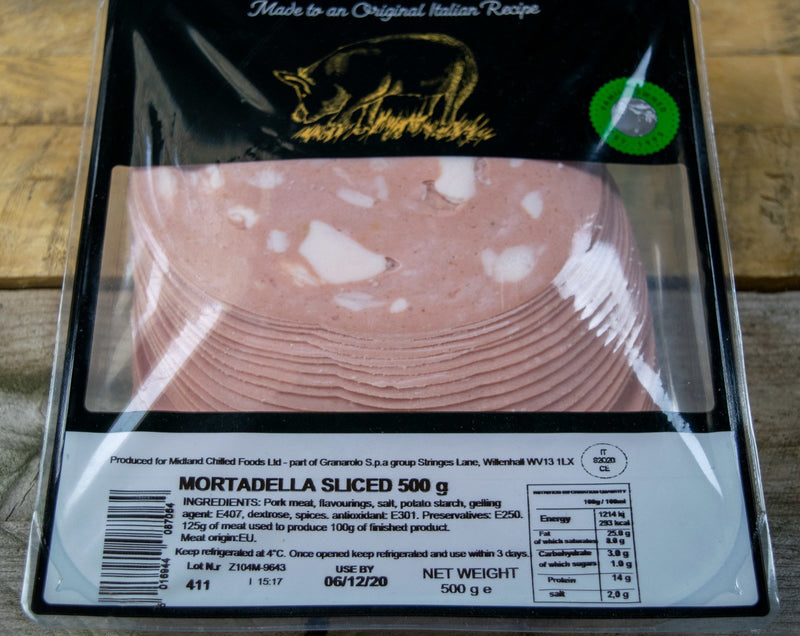Mortadella Sliced 500g - Birtwistles Catering Butchers