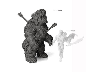 Armored Warbear with Battle Damage - Professionally pre-supported for easy printing!