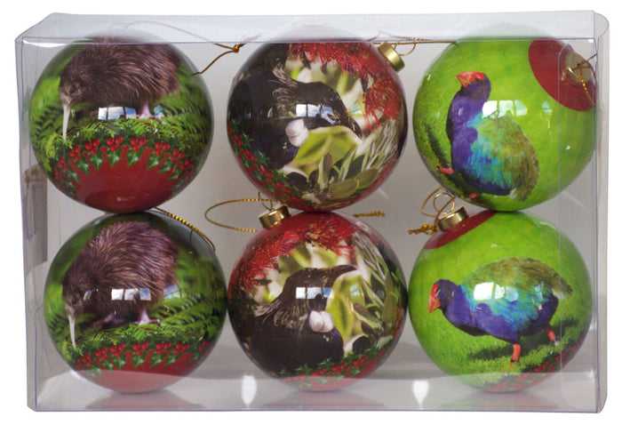 NZ Bird Baubles - Christmas - (Box Set of Six)