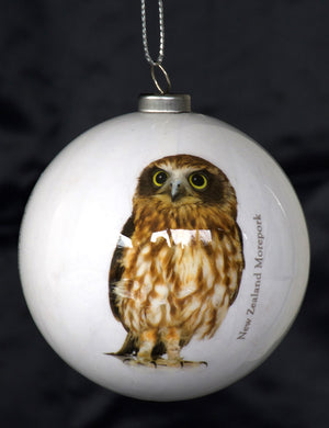 NZ Christmas Bird Baubles - Morepork - Classic White (Box of Two) *** CLEARANCE SPECIAL ***