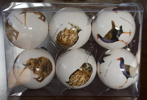 NZ Bird Baubles - Classic White (Box Set of Six)