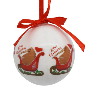 Decoration - New Zealand Kiwi riding sleigh bauble - Box Lot Deal (6)