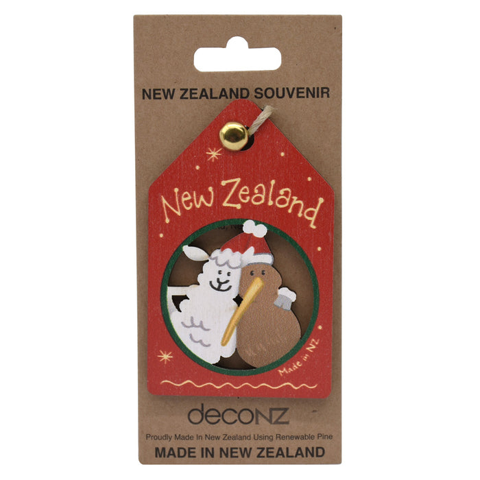 New Zealand Made Christmas Decoration - Kiwi and Lamb